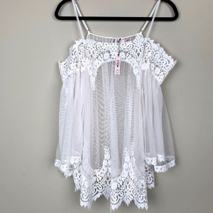 NWT Victoria's  Secret Lace Sheer Negligee Top M